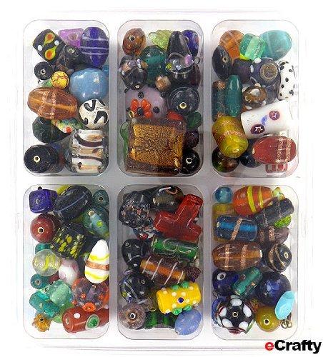 1 Pound Glass Beads eCrafty Fearless Crafter's Mega Mix Lampwork, Glass Beads