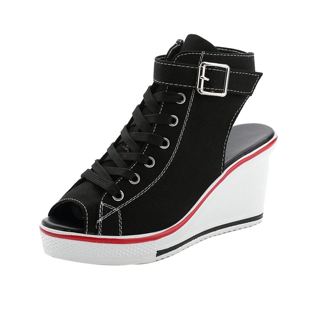 Claystyle Women Canvas High Shoes, Adjustable Buckle Open Toe Wedges Shoes Summer Fashion Sandals(Black,US=6)