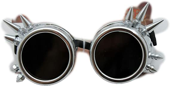 Steampunk Goggles Magnifier Spectacles Light up Masquerade Mask Silver