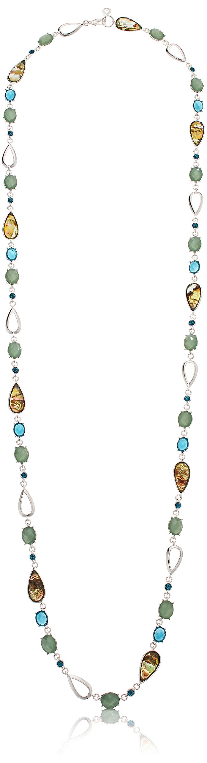 Anne Klein Women's Silver Tone And Blue Multi Stone 42-Inch Strand Necklace