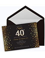 50 Personalised Birthday Invitations Choose from 39 Stunning Designs • 18th 21st 30th 40th 50th - Any Age. Customise All Wording and Colours. Free envelopes and Free delivery (Design 20)