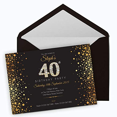 50 Personalised Birthday Invitations Choose From 39 Stunning Designs O 18th 21st 30th 40th 50th