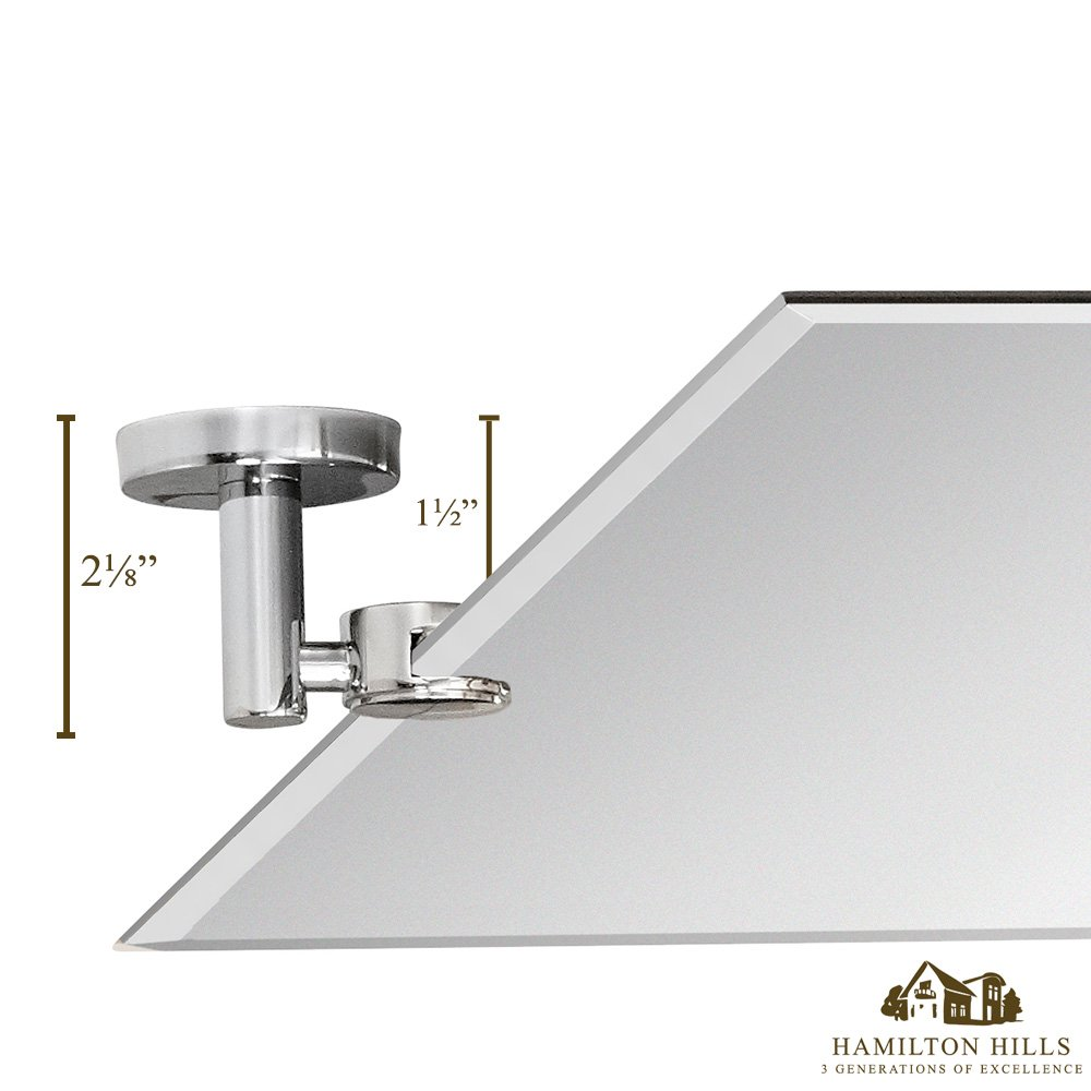 """Hamilton Hills Large Pivot Rectangle Mirror with Polished Chrome Wall Anchors   Silver Backed Adjustable Moving & Tilting Wall Mirror   20"""" x 30"""" Inches"""