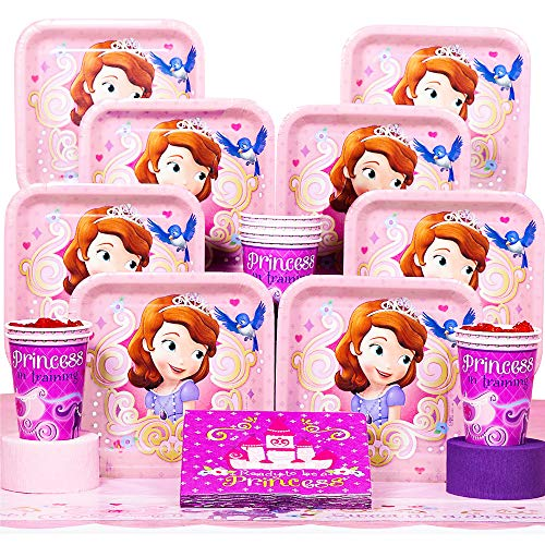Sofia The First Birthday Decorations (Disney Junior Sofia the First Deluxe Party Supplies Pack Including Plates, Cups, Napkins and Tablecover - 16)