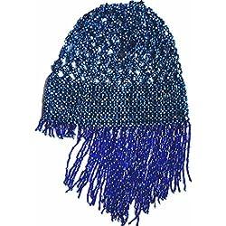 2018 New Handmade Beaded Hat Pub/DJ Hair Accessory Egyptian Cleopatra Belly Dance Beaded Cap Wig Headpiece(Dark Blue)