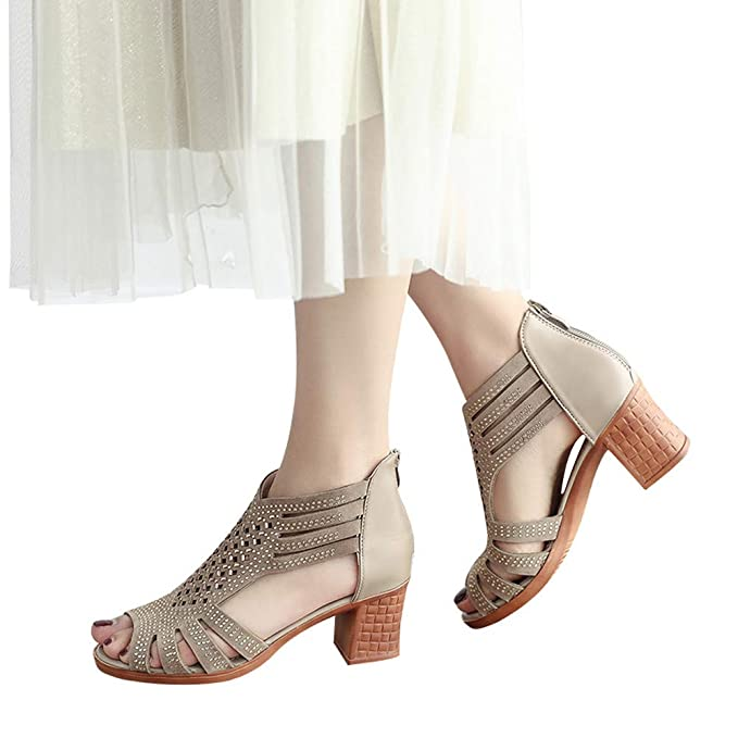 338a37456 ... Women Open Toe High Heel Block Sandals Fashion Crystal Hollow Out  Wedges Flip Flop Comfortable Outdoor Ankle Zipper Shoes Gold  Amazon.co.uk   Clothing