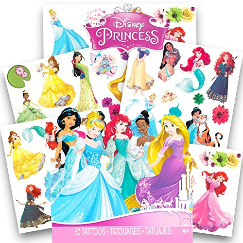 oos - 50 Assorted Temporary Tattoos ~ Cinderella, Ariel, Belle, and More! (Disney Cinderella Belle)