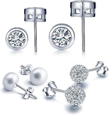 Yumilok 4 Paare Basic 925 Sterling Silber Zirkonia Perlen Kristall Ohrstecker Set Shamballa Kugeln Ohrringe Ohrschmuck f/ür Damen Frauen M/ädchen