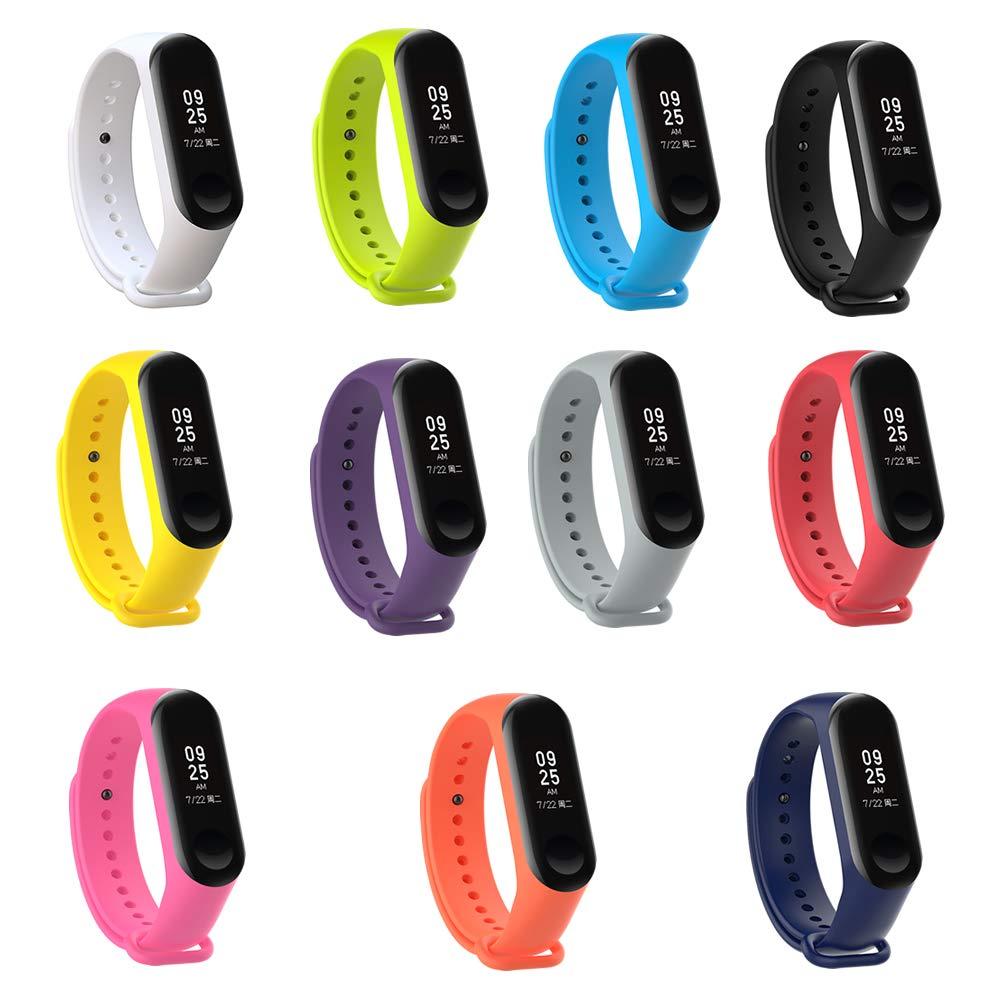 Banda de repuesto de Pinhen, pulsera hecha de silicona para el reloj inteligente Xiaomi Mi Band 3, suave e impermeable: Amazon.es: Electrónica