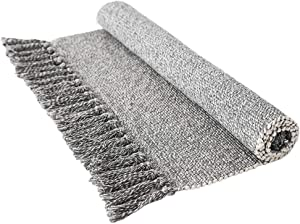 Wolala Home 2 Feet by 3 Feet Gray Reversible Hand Woven with Fringe Cotton Indoor Area Rug Mats Throw Rugs for Bedroom/Kitchen/Living Room/Laundry Room/Entryway