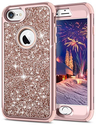 SAMONPOW iPhone 7 Case 3 in 1 Front Protection iPhone 7 Cover Bling Glitter Sparkle Hard PC Soft Slicone Inner iPhone 8 Heavy Duty Anti-Scratch Rugged Bumper for iPhone 7/8 - Rose Gold