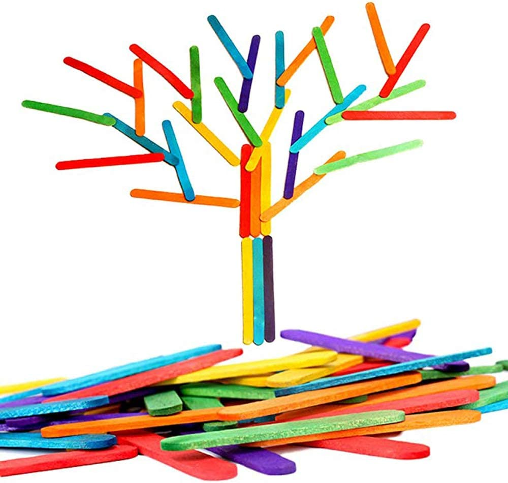 600 Pcs Colored Craft Sticks,Colored Wood Craft Sticks for DIY Craft Creative Designs or Children Education