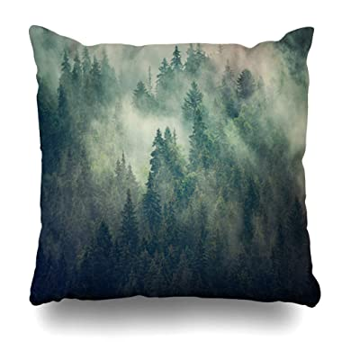 Ahawoso Throw Pillow Covers Scenery Green Alps Misty Fir Forest Hipster Vintage Fantasy Nature Alpine Cloud Cold Dark Design Home Decor Zippered Pillowcase Square Size 16 x 16 Inches Cushion Case