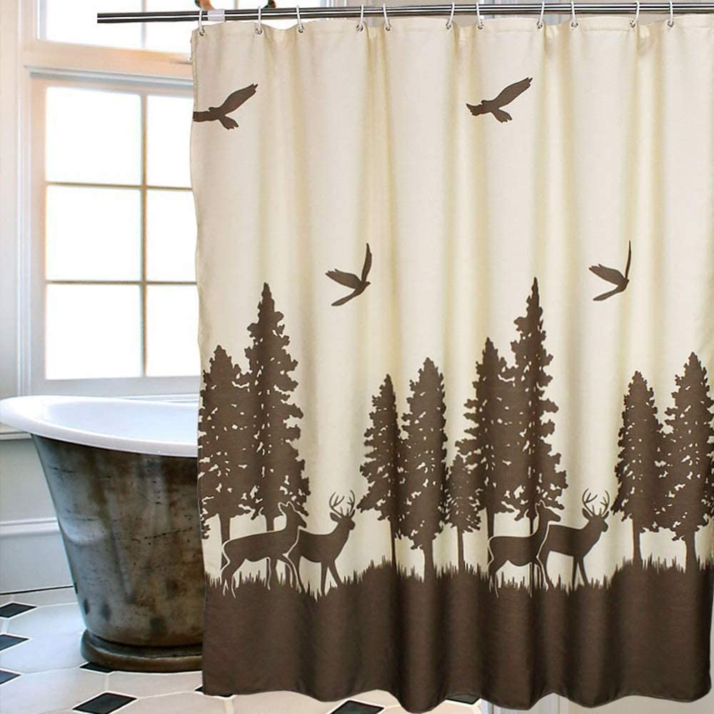 Uphome Deer in The Forest Shower Curtain, Yellow and Coffee Country Vintage Moose Forest Hunting Waterproof Fabric Stall Shower Curtain Set with Hooks for Kids, 72 X 78 Inch