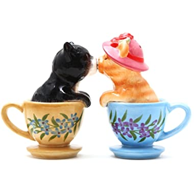 Pacific Giftware Kissing Kittens Cats in Tea Cup Magnetic Salt and Pepper Shaker Set