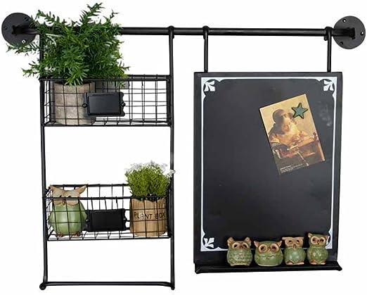 Tablero de mensajes Soporte de flores Retro Colgantes de pared Cestas Decoración de olla de planta Estante Colgador Titular de la jardinera Pizarra Salón Balcón Interior al aire libre (color: negro): Amazon.es: