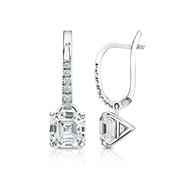30f3d0c6f 14k Gold 4-Prong Martini Dangle Asscher Diamond Earrings (1/2-2 cttw, G-H,  SI1-SI2)