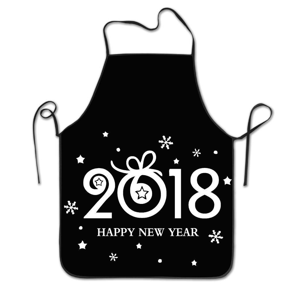 Happy New Year 2018デザインロックエッジ防水耐久性文字列調節可能お手入れ簡単料理エプロンキッチンエプロンレディースメンズのシェフ   B07DHC6GHN