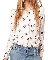 Zehui Women's Button Down OL Shirt Blouse New Collared Chiffon Long Sleeve Kiss Printed