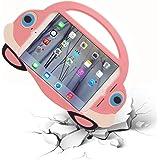 [Cartoon Car Style]iPad Mini Case,TopEs Kids Fun Mini Cartoon Shockproof Silicone Protective Case Cover+(Tempered Glass Screen Protector) for iPad Mini,Mini2,Mini3,Retina Models (Pink)