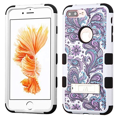MyBat Cell Phone Case for iPhone 7 Plus - Purple European Flowers/Black (with Stand) from MYBAT