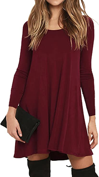 TALLA X-large(EU 48). V-toto Vestidos de Mujer, Vestido de Camiseta, Manga Larga O-Cuello Vestido Casual Vestido Suave Vestido Suave y Estirado, Colores Lisos, Talla Grande, Dos Bolsillos Púrpura ligera X-large(EU 48)