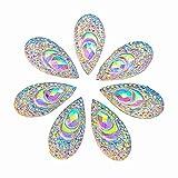 big clear gems - 100 AB Clear Faceted Drop Shape Sew on Rhinestones Crystal Gems Flatback Sewing Stones Dress Accessory 2 Holes
