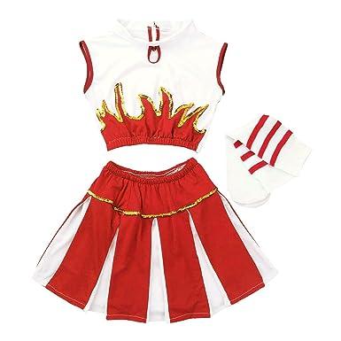 b09ab3528f3557 FEESHOW Déguisement de Pom-Pom Girl Costume écoliere