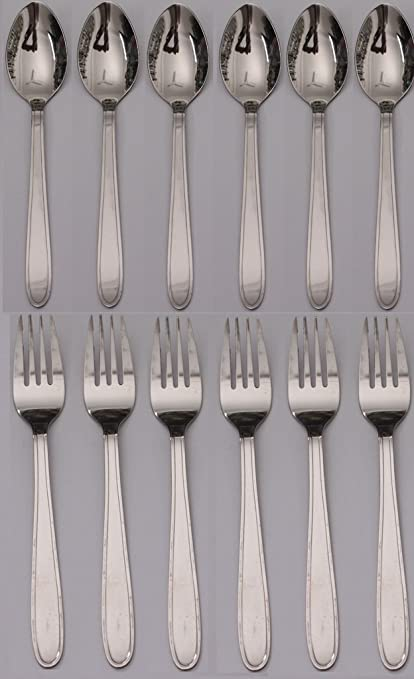 Buy Mosaic Stainless Steel Baby Spoon Baby Fork Set Of 12 Pieces