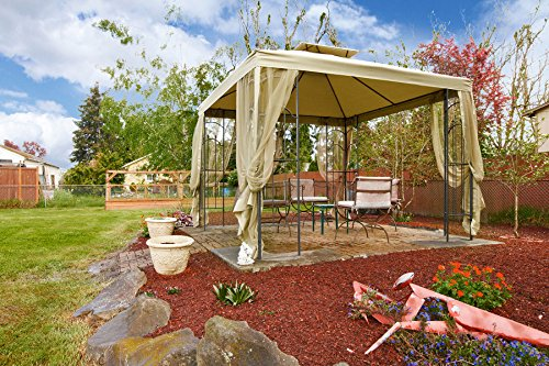 Kenley 2-Tier 10x10 Replacement Gazebo Canopy Awning Roof Top Cover - Waterproof 250g Canvas – 10' x 10' – Beige