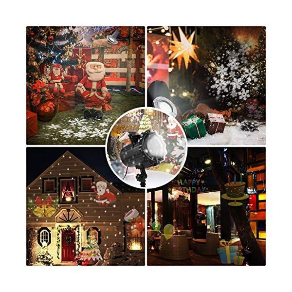 Proiettore Luci Natale, Proiettore Natale Esterno Interno Proiettore Fiocchi di Neve Impermeabili lampada proiettori LED 16 Diapositive con Telecomando RF per luci natalizie, Compleanno, Capodanno 4 spesavip