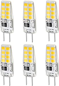LEKE G8 Bulb Warm White 3W G8 LED Bulb Equivalent to G8 Halogen Bulb 20W-25W Dimmable G8 Light Bulb 3000k, AC 110v/120v/130v(6 Pack)