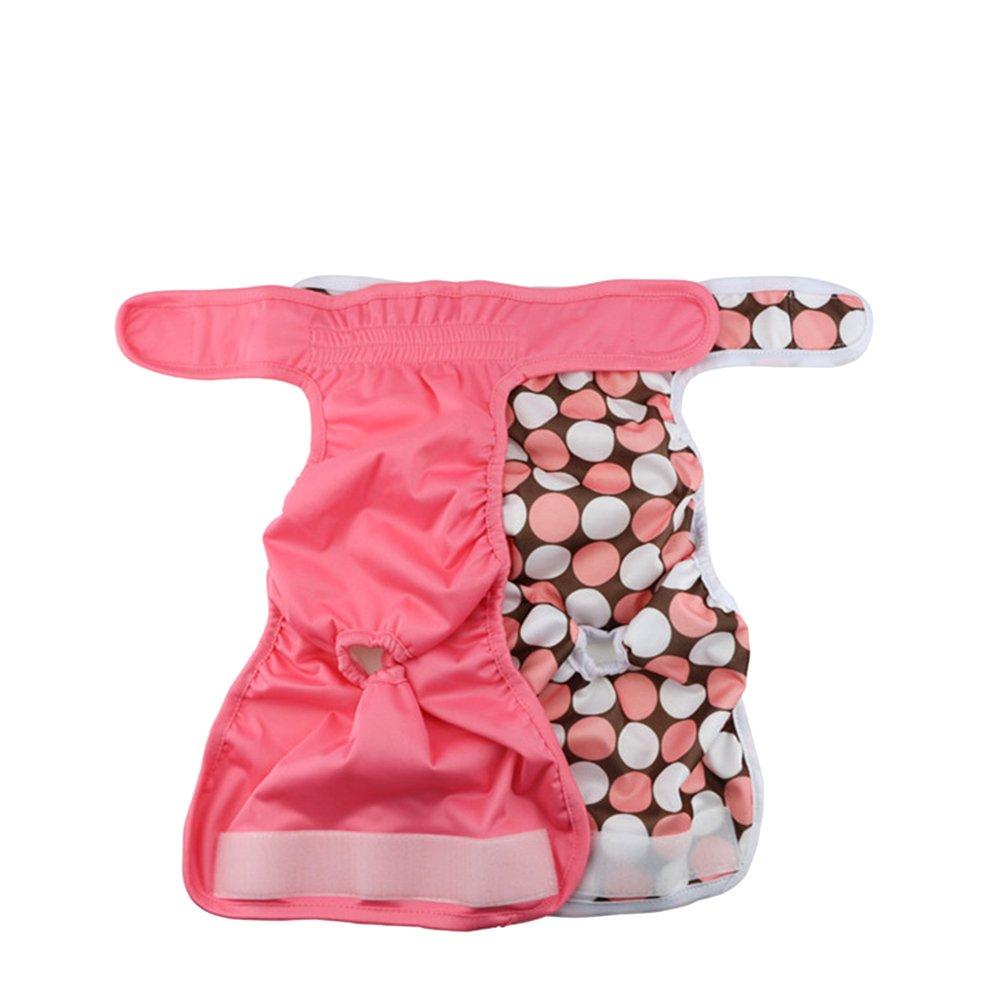 UEETEK Female Pet Dog Puppy Hygiene Diaper Pants Washable Reusable Nappy Pants Size S 2PCS (Rose Red)
