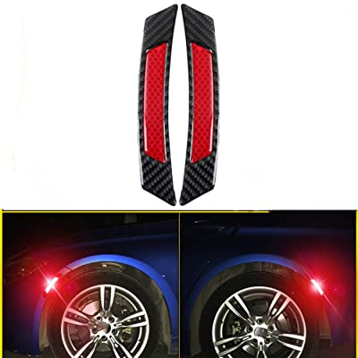 ZaCoo 2 Pcs Reflective Tape Carbon Fiber Car Wheel Arch Safety Reflector Strips Sticker: Automotive