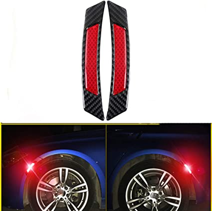 iJDMTOY Pair Universal White Reflective Side Marker Stickers w//Outer Black Carbon Fiber Trim For Car SUV Truck Wheel Well Arch or Side Bumper//Fenders