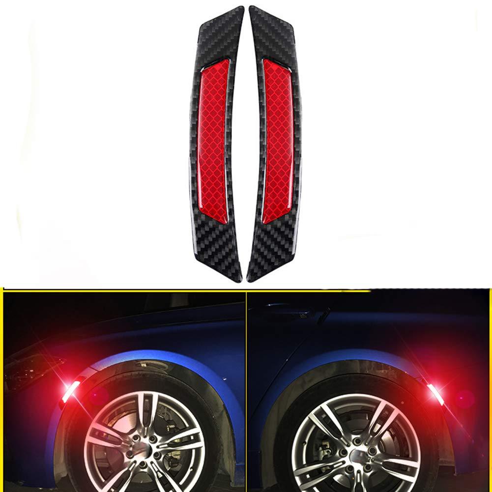 ZaCoo 2 Pcs Reflective Tape Carbon Fiber Car Wheel Arch Safety Reflector Strips Sticker