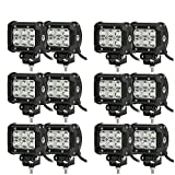 "Turbo SII 12PCS 18W Cree Led Light Bar 4""Inch Flood 60Degree High Power 1800 Lumen Waterproof IP67 Off Raod For 4wd Boat Ute Driving Atv Car"