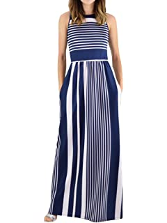 faff0c93e5c3bd Lovaru Womens Striped Print Dresses Sleeveless Pleated Crew Neck Loose Maxi  Dress with Pockets