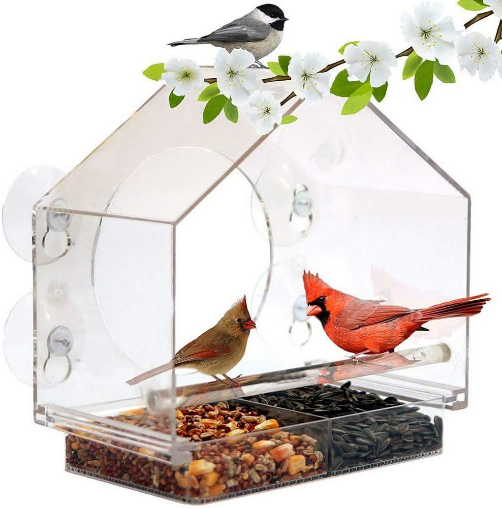 JWC Práctico comedero para pájaros, Hecho de plástico Bandeja Deslizante móvil con Orificio de Drenaje Altamente Transparente Fácil de Instalar, Limpio, para Aleros de Rama de árbol