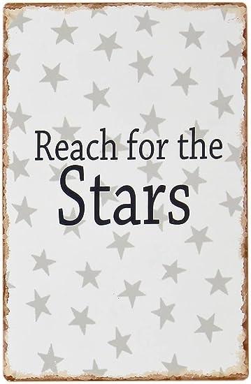Reach for the Stars Shabby Blechschild Wandbild Deko Wandobjekt grau Schild