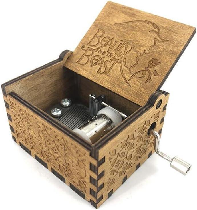 Cuzit Caja de música de madera con diseño de manivela y bestia ...