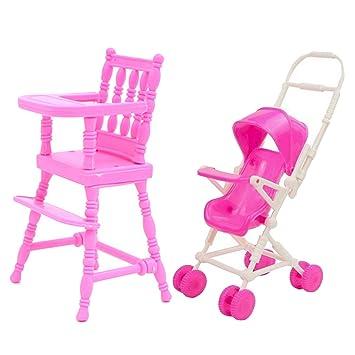 Mishiner 2 Piezas de casa de muñecas Accesorios, Cochecito para muñecas Silla Alta + Cochecito de bebé Carro de casa de muñecas Muebles Accesorios ...