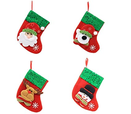 afe1fe649 Yingealy Beautiful and Practical 1pc Christmas Stocking Snowman Moose Bear  Santa Claus Socks Candy Gift Pouches