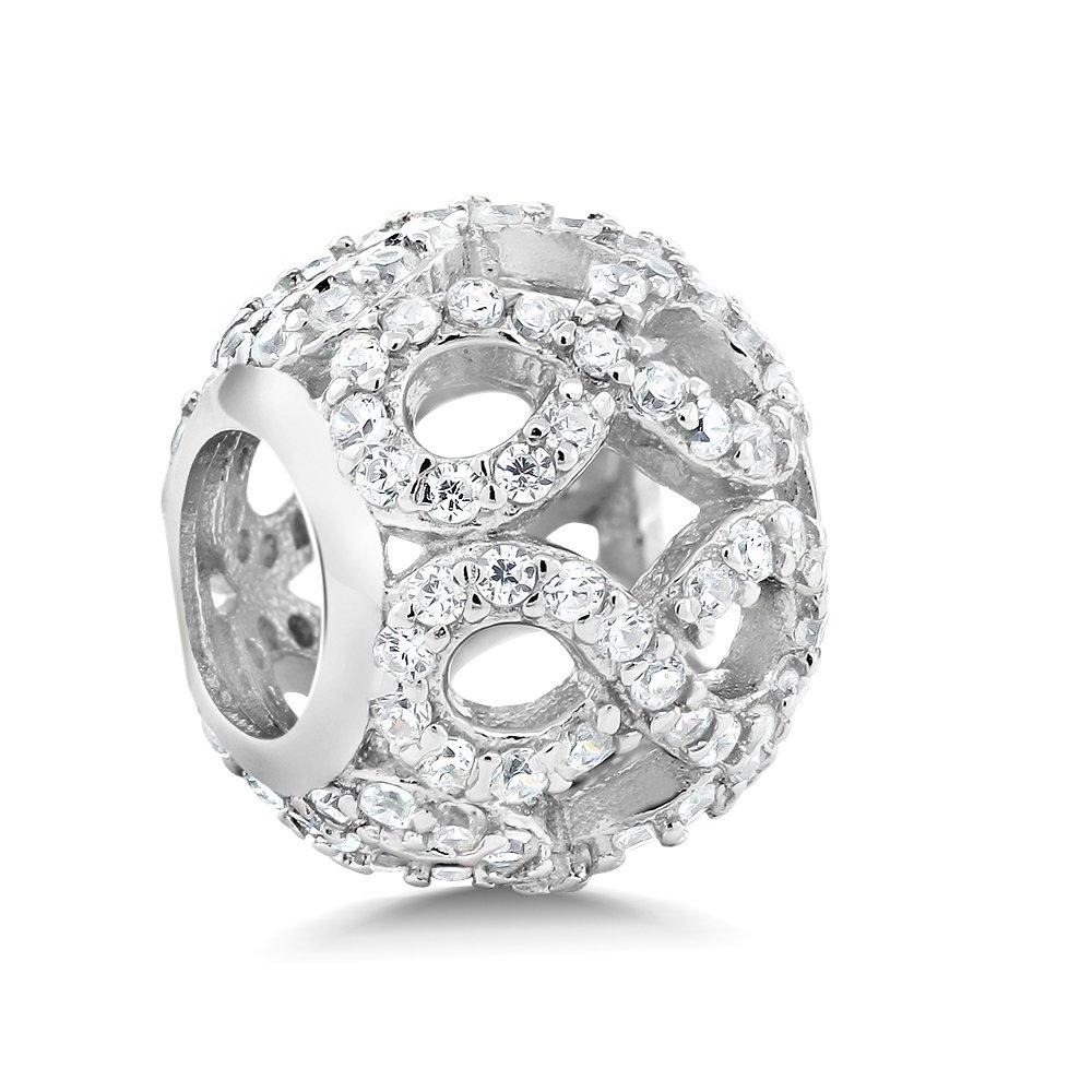 925 Sterling Silver White CZ Infinity Round Bead Charm Compatible W/Pandora Bracelets
