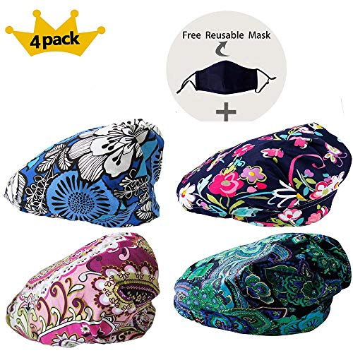 Womens Surgical Scrub Hat - JoyRing 4 Pack Adjustable Surgical Scrub Cap Medical Doctor Bouffant Hats with Sweatband and Free Cotton Mask