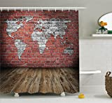 World Map Shower Curtain Set Wanderlust Decor by Ambesonne, Vintage Old Grunge Map Room Style Brick Rustic Geographic Interior Travel Print, Bathroom Accessories, with Hooks, 69W X 70L Inches