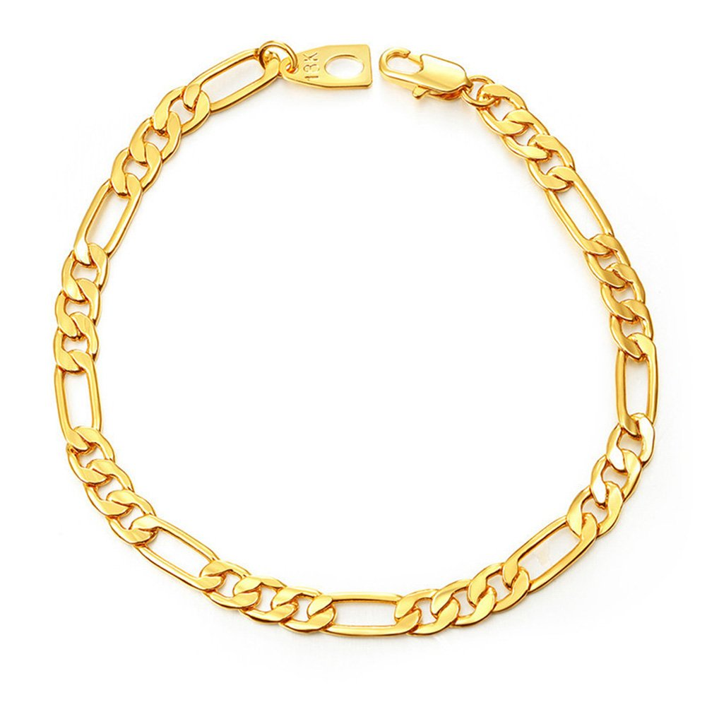 MMTTAO Hip Hop Punk Jewelry Men Heavy Figaro Cuban Chain 5MM Wide 18K Real Gold Plated Charms Bracelet for Men Women Fashion Jewelry with 18K Stamp - 8.3''