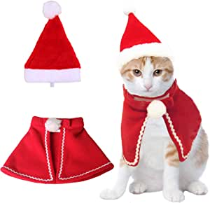 Christmas Cat Plush Santa Hat Cloak Scarf Dog Pet Cosplay Costume Xmas Kitten Puppy Red Caps Collar Manteau Velvet Clothing Clothes Funny Birthday Party Mantle Dress Up Apparel Holiday Costume Size L