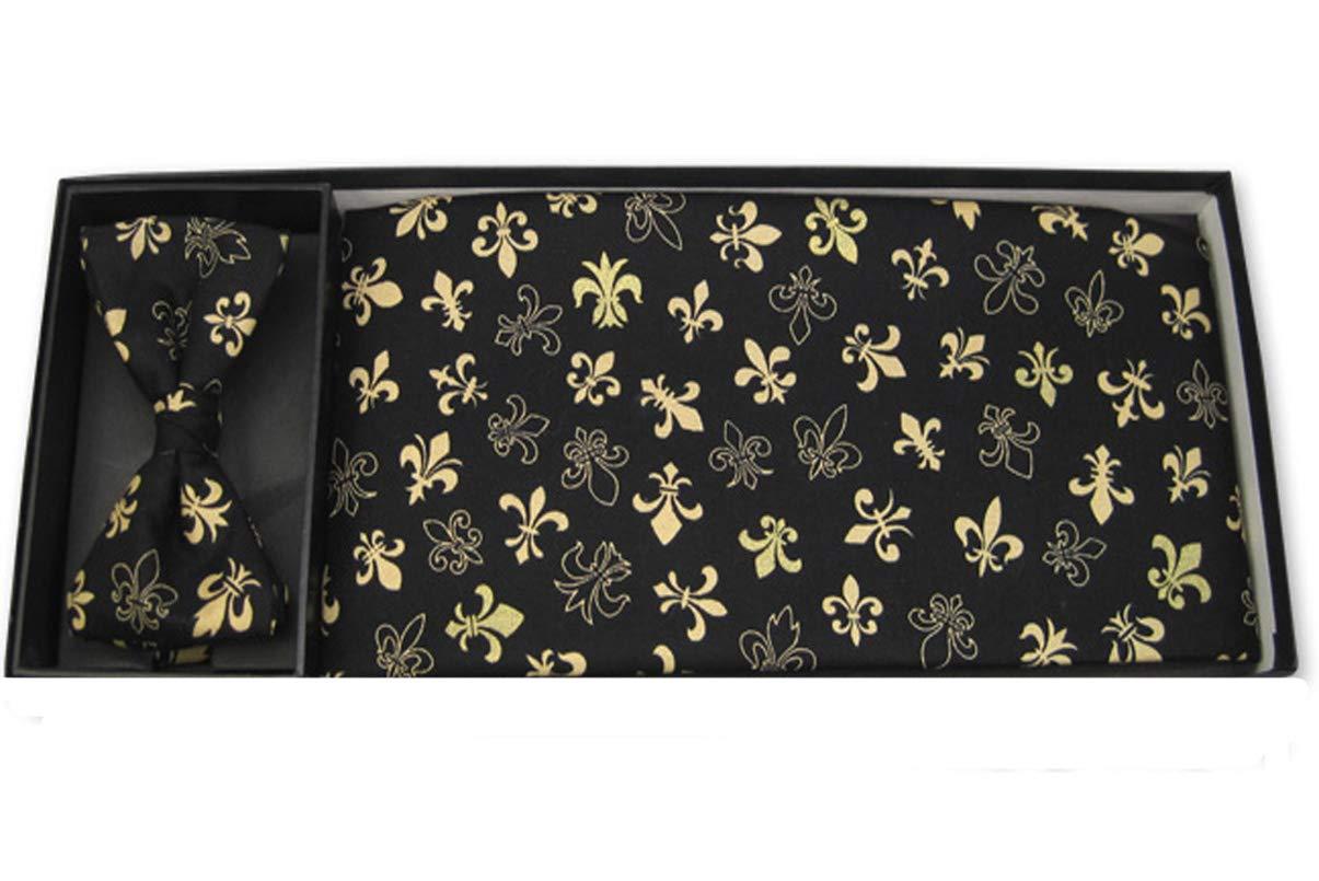 Golden Fleur De Lis Bow Tie and Cummerbund Set by EZ Tuxedo