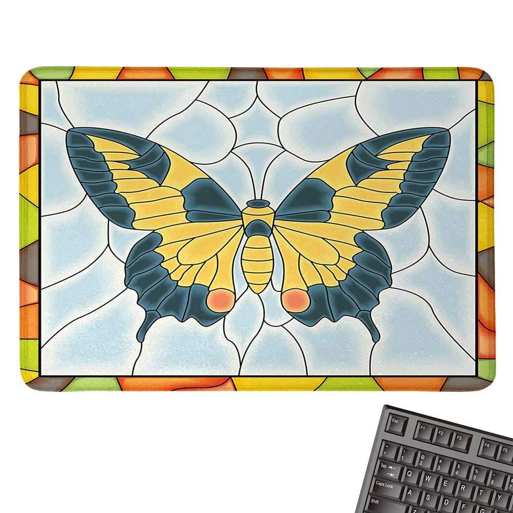 Butterfliesカスタマイズマウスパッド ステンドグラスウィンドウに蝶 フレームウィングスプリングガーデンイラスト カスタマイズマウスパッド 9.8インチ x 11.8インチ マルチカラー 9.8